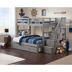 Cascade Staircase Brushed Grey Twin-over-full Bunk Bed with Trundle Bed. Wider bed at the bottom for a parent to sit and tell tall tales. Bunk Beds With Drawers, Bunk Beds With Storage, Bunk Bed With Trundle, Bunk Beds With Stairs, Kids Storage, Storage Stairs, Bunk Beds Boys, Bunk Bed Rooms, Full Bunk Beds