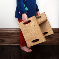 Kids Step Stool, Modern Personalized Cherry Wood