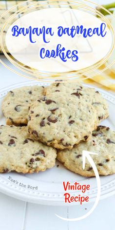 These Banana Oatmeal Cookies with chocolate chips are so good we eat them for Breakfast AND Dessert! Imagine the flavors of banana bread, oatmeal cookies and chocolate chip cookies all rolled into one? Is your mouth watering yet, because mine is! #dessert #cookie #bananacookie #bananaoatmealcookie #bananachocolatechipcookie #bananaoatmealchocolatechipcookie #recipe #numstheword #christmascookie #breakfastcookie #healthycookie #cookies
