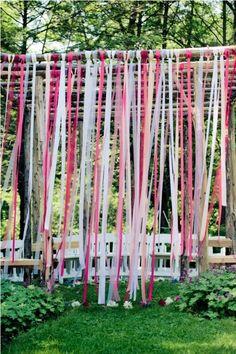 Ideas Backyard Wedding Ceremony Backdrop Ribbons For 2019 Diy Wedding Entrance, Backyard Wedding Decorations, Wedding Ceremony Backdrop, Rustic Wedding, Wedding Backyard, Romantic Backyard, Wedding Reception, Wedding Aisles, Wedding Backdrops