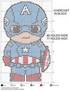 Captain America Large Chibi plastic canvas pattern