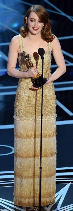 Emma Stone speechin', 2017 Academy Awards.