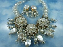 Stunning Signed Vrba Faux Baroque Pearl & Crystal Statement Demi Parure