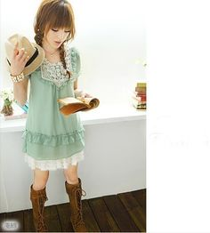 Lovely round neck short sleeve chiffon dress 3 color