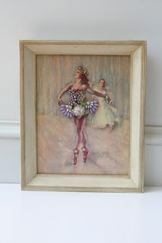 Framed Jewelry Collage Vintage Ballerina Rhinestone Wall Art Ballet Nursery Antique Pal Fried Lithograph Assemblage Girl Baby Jeweled OOAK by SusieKays on Etsy