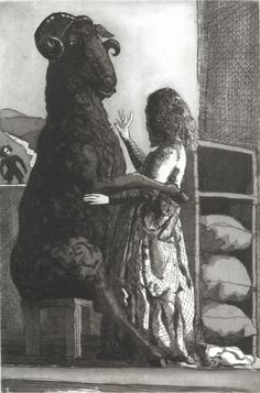 Paula Rego  Baa, Baa Black Sheep  1989  Etching and aquatint  32,2 x 21,6 cm  Paper: 52 x 38,3 cm  Série Nursery Rhymes