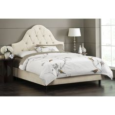 Gorgeous arched tufted headboard I love the airyness and simple prettiness
