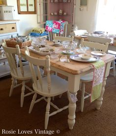 Shabby Chic vintage farmhouse pine table and four painted chairs at rosielovesvintage.co.uk