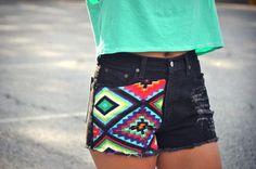 neon tribal shorts
