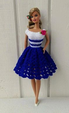 Barbie clothes barbie crochet dress for barbie doll etsy crochetdressesHandmade dress for Barbie doll or similar, by my own design. The crochet dress made of pink, blue. Crochet Barbie Patterns, Crochet Doll Dress, Barbie Clothes Patterns, Black Crochet Dress, Crochet Barbie Clothes, Doll Clothes Barbie, Barbie Dress, Dress Patterns, Barbie Doll