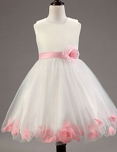 A-line Knee-length Flower Girl Dress - Cotton / Lace / Tulle / Polyester Sleeveless 2016 - £20.99