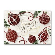 Ornaments in seasonal plaid accompany 'Season's Greetings' in dazzling gold foil for a classic Christmas card look everyone will love. Made from recycled paper by manufacturers using renewable energy sources. Business Christmas Cards, Holiday Greeting Cards, Christmas Greetings, Personalised Christmas Cards, Renewable Sources Of Energy, Gold Line, Types Of Printing, Recycling, Plaid