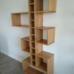 IMG_20200306_112534 Wood Slat Wall, Wood Slats, Built In Furniture, Industrial Furniture, Make Build, Built In Bookcase, Shelves, Building, Interior