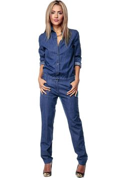 8b61c0334c Casual Stylish Women Fashion Denim Jeans Long Sleeve Overalls Straps Solid  Jumpsuit Trousers Women Bodysuits Office Lady Clothes