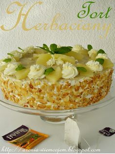 "Wiem co jem - Tort herbaciany ""Tropical"" Polish Recipes, Polish Food, Pina Colada, Macaroni And Cheese, Goodies, Cooking Recipes, Sweets, Bread, Baking"