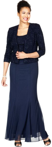 Alex Evenings Sleeveless Textured Glitter Evening Gown in Blue (Navy) Women's Corporate Wear, Mother Of The Bride Gown, Bride Groom Dress, Alex Evenings, Two Piece Dress, Petite Dresses, Fitted Bodice, Modest Fashion, Plus Size Women