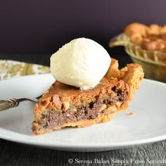 Perfect Chocolate Chip Pie is a brown butter chocolate chip cookie with a crispy outside and chewy center in a flaky pie crust! serenabakessimplyfromscratch.com