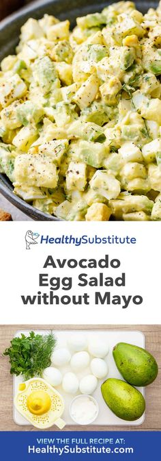 Apr 2020 - How to Make the Best Avocado Egg Salad (Without Mayo! Healthy Egg Salad, Easy Egg Salad, Tofu Salad, Avocado Egg Salad, Healthy Eating, Healthy Mayo, Avocado Dishes, Cucumber, Healthy Food