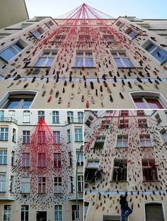 Using Buildings as a canvas for installation art! Taking Artworks/Public art to the next level. Cool way to brighten run-down buildings that cant be renovated.