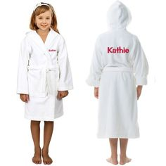 ffd93db72b  Kids Custom text  embroidery on FRONT and BACK of Terry  Hooded Bathrobe Bath  Robes