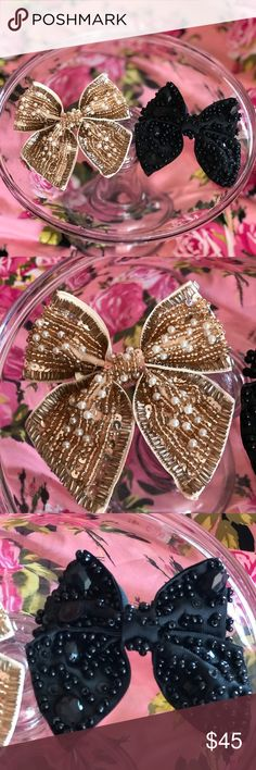 Black gold hair bows bling rhinestone Sequin 2 pc 1 black sparkly bow 1 gold sparkly shiny bow perfect for cheerleader gothic and Lolita Christmas party costume prom dress skirt Church Easter fancy dinner wedding flower girl etc Accessories Hair Accessories