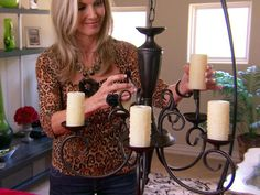 Chandelier redo - love the candle sleeves Durham (& it's HGTV so they give you step by step) Decor, Hgtv, Chandelier Makeover, Candles, Makeover, Boho Style Lighting, Chandelier, Diy Chandelier, Basement Design