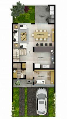 Modern Small House Design, Sims 4 House Design, Sims House, Narrow House Plans, Modern House Plans, House Floor Plans, House Layout Plans, House Layouts, 2 Bedroom House Plans