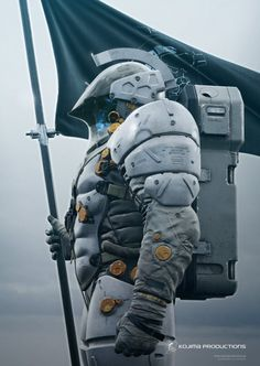Hideo Kojima reveals the full body of the Kojima Productions studio mascot, LUDENCE, who appears to be wearing an impressively detailed futuristic suit of armor. Logo Character, Character Concept, Concept Art, Cyberpunk, Kojima Productions, Arte Robot, Sci Fi Armor, Future Soldier, Modelos 3d