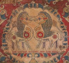 """Detail of """"A rare and important silk robe"""" Sogdian silk textile dated to the 7th or 8th century, sold by Sotheby's in 2012."""