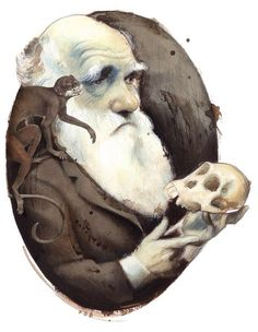 Znalezione obrazy dla zapytania charles darwin caricature