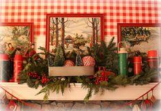 """tis the season"" my family room/kitchen mantel Christmas Time Is Here, Christmas Mood, Merry Little Christmas, Vintage Christmas, Christmas Mantels, Primitive Christmas, Country Christmas, Christmas Crafts, Christmas Ideas"