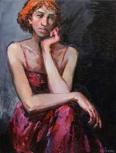 Lady in Red - Woman portrait painting 60 x 80 cm