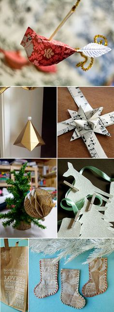 Bows, Ornaments from recycled book pages, sheet music - Ornament ideas from Paper Crave Christmas Paper Crafts, Noel Christmas, Christmas Projects, All Things Christmas, Holiday Crafts, Christmas Decorations, Xmas, Christmas Ornaments, Kirigami