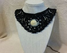 Black Lace Collar/Bib Necklace with Sisters Ivory Cameo, small Cream Pearl Cabochons and Black Oval Cabochons - CL1000201 by ShyCollections on Etsy