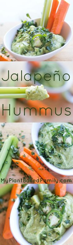 Jalapeno Hummus is gluten-free, plant-based (vegan, dairy-free) and also oil-free. This is perfect to make for a party or as a snack. (I'll be replacing the cilantro with something that's actually edible. Plant Based Eating, Plant Based Diet, Plant Based Recipes, Whole Food Recipes, Diet Recipes, Vegetarian Recipes, Healthy Recipes, Vegan Appetizers, Vegan Snacks