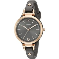 Fossil Women's ES3077 Georgia Leather Watch - Smoke and Rose Gold-Tone ($80) ❤ liked on Polyvore