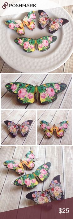 """Set of 3 boho floral print butterfly brooches This listing is for all 3 butterfly brooch//pins! Each one has a different gorgeous floral print. Butterflies are made from laser cut wood. 1/8"""" thick with a smooth surface for the front and back. Pins are securely attached to the backs for easy pinning to your cardigan, sweater, shirt etc. Handmade by me & brand new. Bundle & save 15% on 3+ items! Tags: Shabby chic, woodland, rustic, flowers, rose, boho, bohemian, gift, spring, summer, gypsy…"""