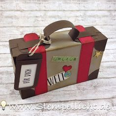 Gift Box Instructions suitcase made of paper for money gift. Stampin Up Ver … Diy Envelope, Envelope Punch Board, Hotels For Kids, Paper Case, Origami Box, Explosion Box, Best Birthday Gifts, Paper Envelopes, Paper Crafts