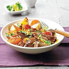 Ready in less than 30 minutes, this beef roast and vegetable main-dish recipe is best when served with a delicious herb and garlic mixture./