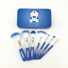 New Doraemon 7 Pcs Mini Makeup brush Set cosmetics kit pincel maquiagem make up brush Kit with Metal box pinceaux maquillage