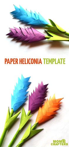 Learn step by step tricks for making diy paper heliconia using colored paper. This spring craft for teens and tweens is easy and beautiful beginner paper flowers.