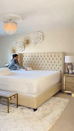 Room Ideas Bedroom, Home Bedroom, Bedroom Decor, Bedroom Furniture, Master Bedroom Design, Glam Master Bedroom, Master Bedroom Makeover, Modern Bedroom, Decor Home Living Room
