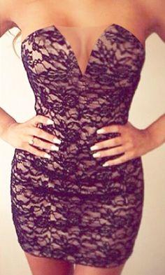 Deep V Strapless Dress