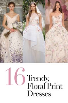 View The Prettiest, Floral Print Wedding Dresses | Photography: Courtesy of Romona Keveza, Greg Kessler & Getty Images. Read More:  http://www.insideweddings.com/news/fashion/16-floral-print-wedding-dresses-for-trendy-brides/3114/