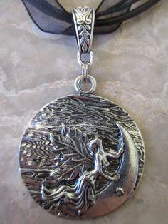 Tibatan Silver Wicca Moon Goddess Fairy by AndieAdamsDesigns
