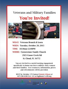 On October 20, 2015, VCI is hosting its first Veteran's Brunch and Learn session in St. Cloud, FL. You are invited to a social learning engagement specifically to honor our brave military men, women and their families.  Free resources, information, prizes and refreshments will be provided. This event is taking place from 10:30am-12:30pm at Cornerstone Family Church in St. Cloud, FL. RSVP by October 15th. Contact Bonnie Gibson for more details. 407.298.4180 ext. 111 or bgibson@vcifl.org