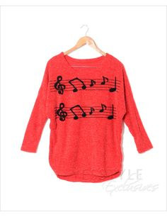 Musical notes print long top. This is amazing for a band geek like myself. lol