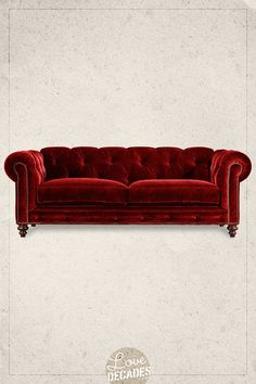 Decades Higgins Chesterfield Sofa in Toulouse Velvet in Fire