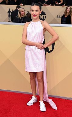 Millie Bobby Brown from 2018 SAG Awards Red Carpet Fashion  InCalvin Klein by Appointment