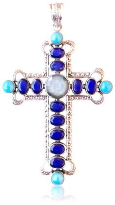 Nicky Butler Sterling Silver Lapis Labradorite Turquoise Gem Cross Pendant 18' Box Chain >> Continue viewing to know more